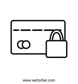Isolated money credit card and padlock line style icon vector design