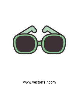 Isolated glasses line fill style icon vector design