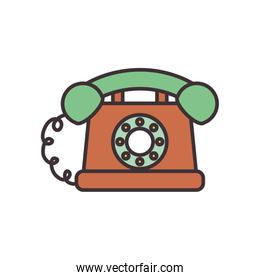 Isolated phone line fill style icon vector design