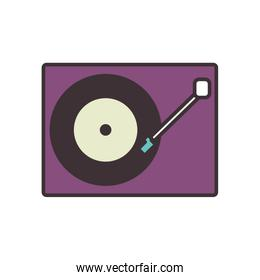 Isolated retro music turntable line fill style icon vector design