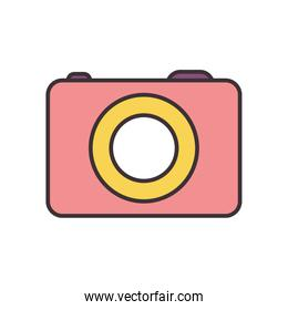 Isolated camera device line fill style icon vector design