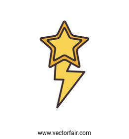 Isolated star with thunder line fill style icon vector design