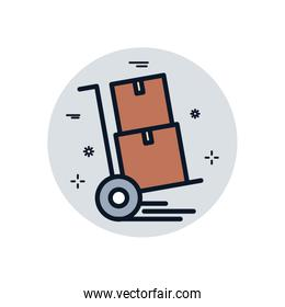 Isolated delivery boxes over cart fill block style icon vector design