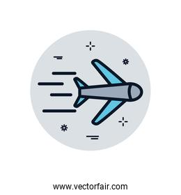 Isolated airplane fill block style icon vector design