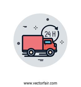Isolated delivery truck and 24 hours arrow fill block style icon vector design