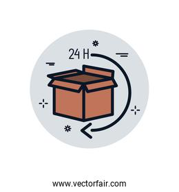 Isolated delivery box and 24 hours arrow fill block style icon vector design
