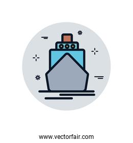 Isolated ship vehicle fill block style icon vector design