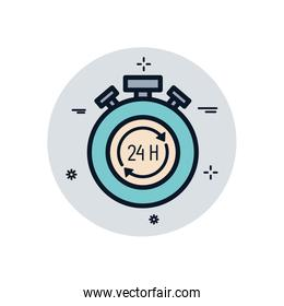Isolated chronometer with 24 hours arrows box fill block style icon vector design
