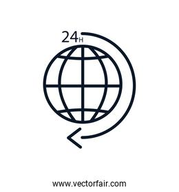 Isolated global sphere and 24 hours arrow line style icon vector design