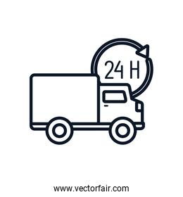 Isolated delivery truck and 24 hours arrow line style icon vector design