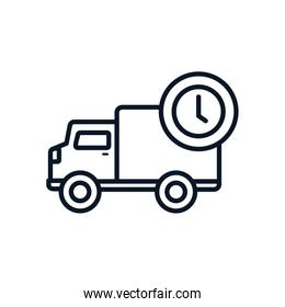 Isolated delivery truck and clock line style icon vector design