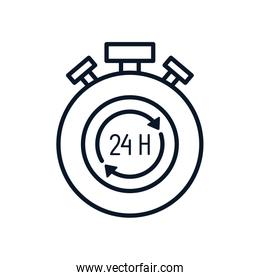 Isolated chronometer with 24 hours arrows box line style icon vector design