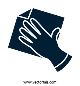 glove with rag silhouette style vector illustration