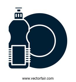 plate and detergent bottle silhouette style icon vector design