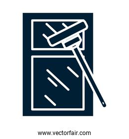 window cleaner silhouette style icon vector design