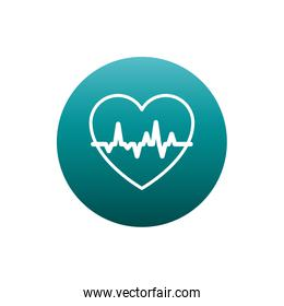 Isolated heart pulse block gradient style icon vector design