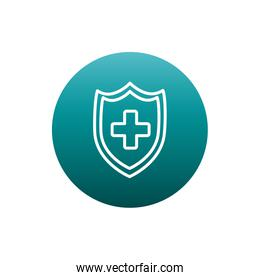 Cross inside shield block gradient style icon vector design
