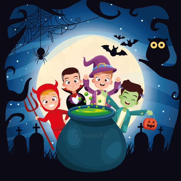 halloween dark scene with kids disguised and cauldron