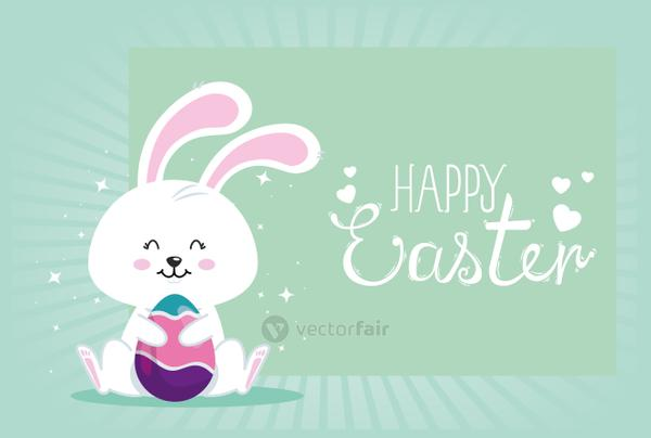 happy easter card with bunny and egg decorated