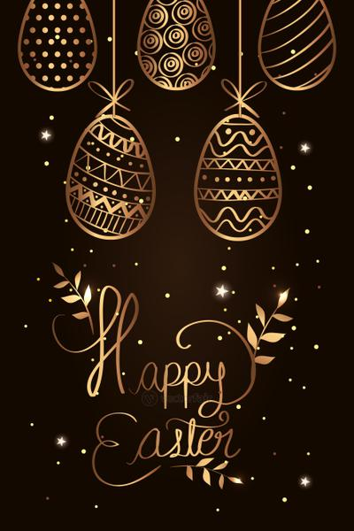 happy easter card golden with eggs decorated hanging