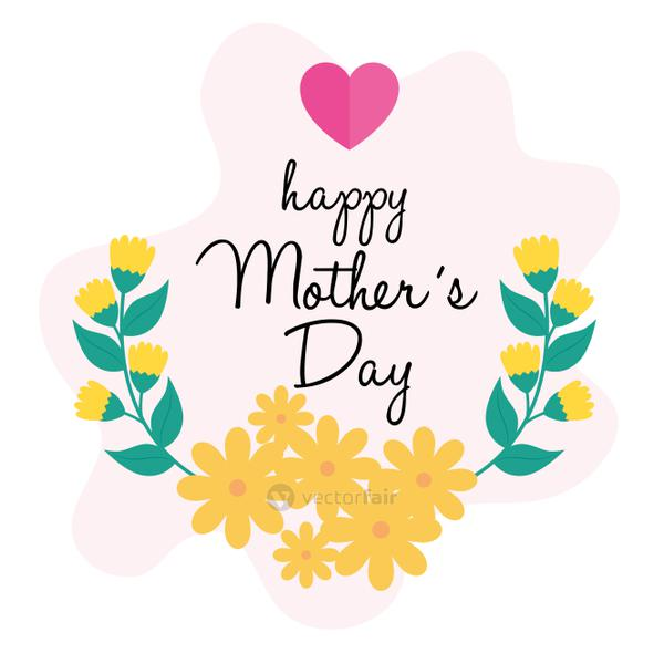 happy mother day card with cute flowers decoration