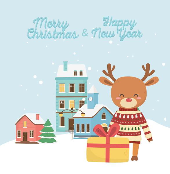 happy new year 2020 merry christmas reindeer with gift town snow