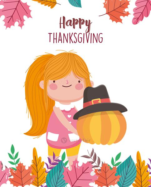 happy thanksgiving day girl holding pumpkin with pilgrim hat