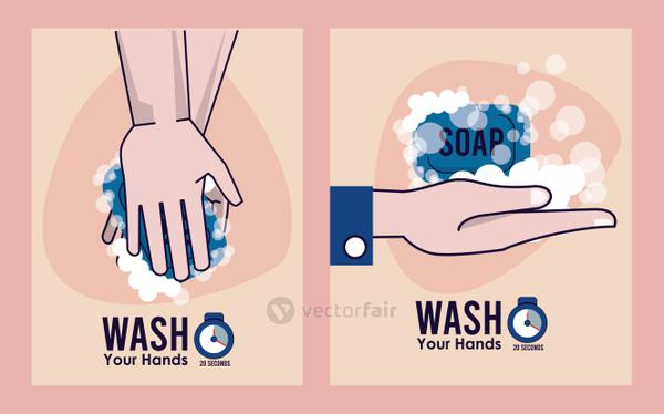 wash your hands campaign poster with soap