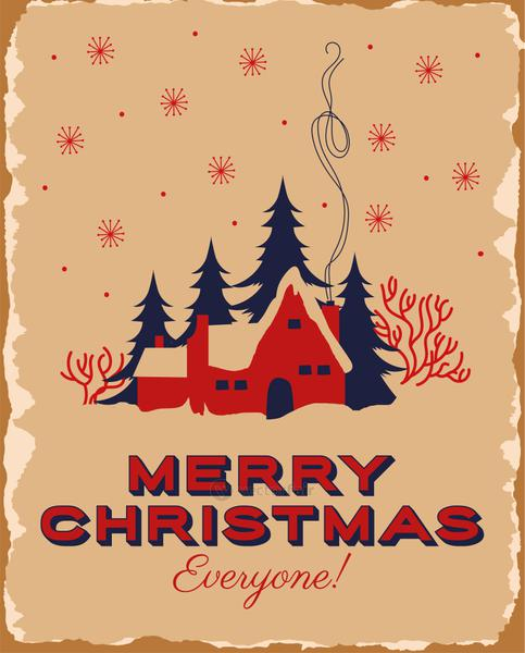 happy merry christmas card with house in snowscape