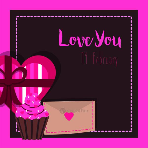 valentines day card with cupcake with chocolate box