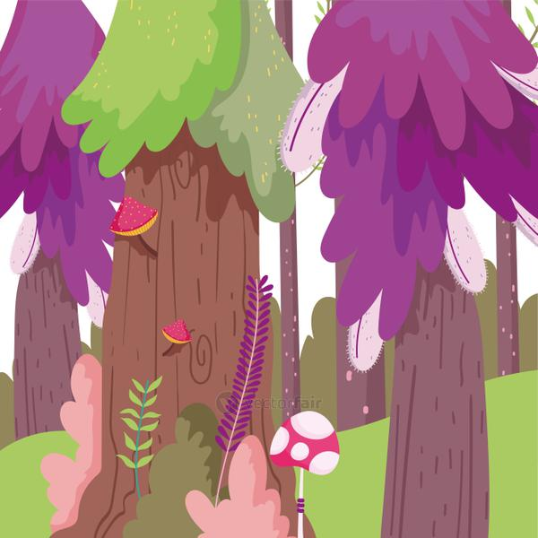 branches mushrooms trees forest landscape nature foliage theme