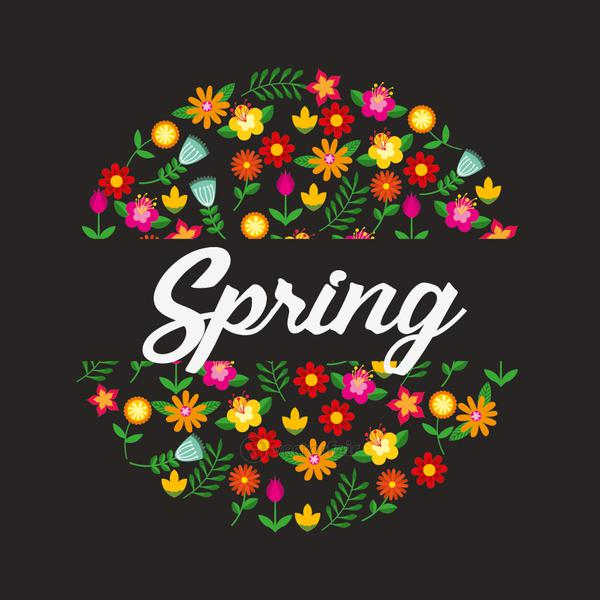 hello spring poster with wreath floral frame