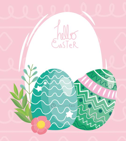happy easter delicate eggs decoration flowers ornament in pink background