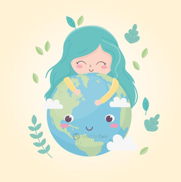 cute girl huggings world leaves environment ecology