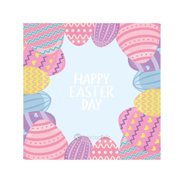 label happy easter day with eggs, greeting card
