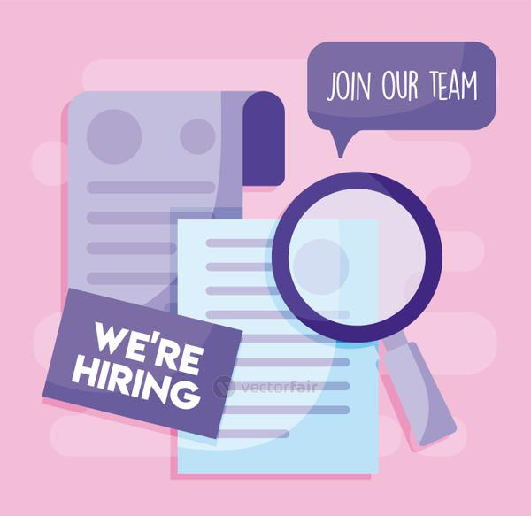 We are hiring message with lupe and papers vector design