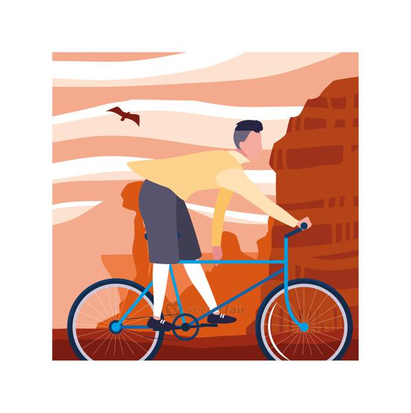 man with bicycle, man with healthy lifestyle