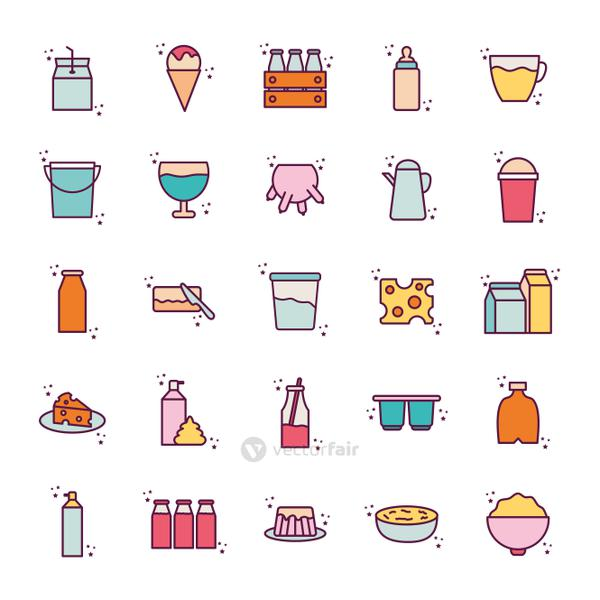 Isolated dairy line and fill style icon set vector design