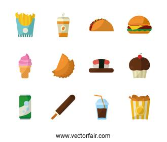 Isolated food flat style icon set vector design