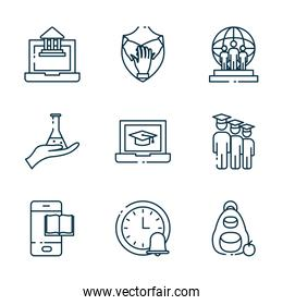 Isolated education school and university line style icon set vector design