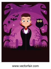 halloween dark scene with boy disguised dracula