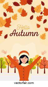 hello autumn season scene with happy girl