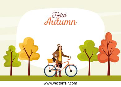 hello autumn season scene with girl in bicycle