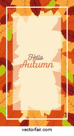 hello autumn season frame with leafs