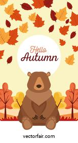 hello autumn season scene with bear