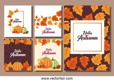 bundle of hello autumn season frames