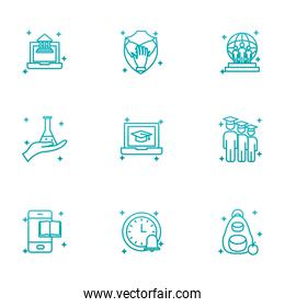 Isolated education school and university gradient style icon set vector design