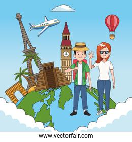tourist people with world planet and famous places