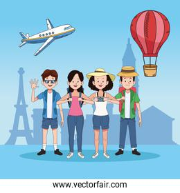 group of tourist people with famous places