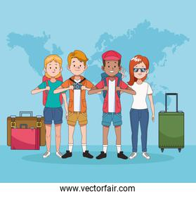 group of tourist people with world maps and suitcases